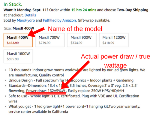 Wattage values: name vs actual power draw